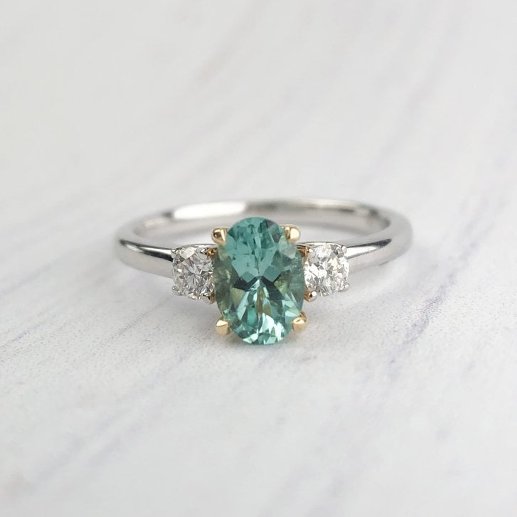 Teal Tourmaline and Diamond Engagement Ring