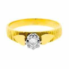 Textured High Claw Diamond Solitaire Ring