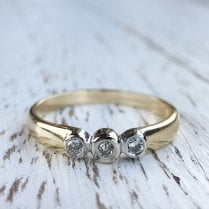 Three Diamond Bezel Set Ring