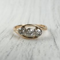 Three Diamond Crossover Ring