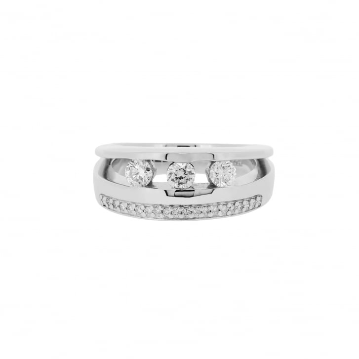 Three Diamond on Tension Set and Diamond Paved Double Band