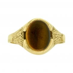 Tiger's Eye Signet Ring in Yellow Gold