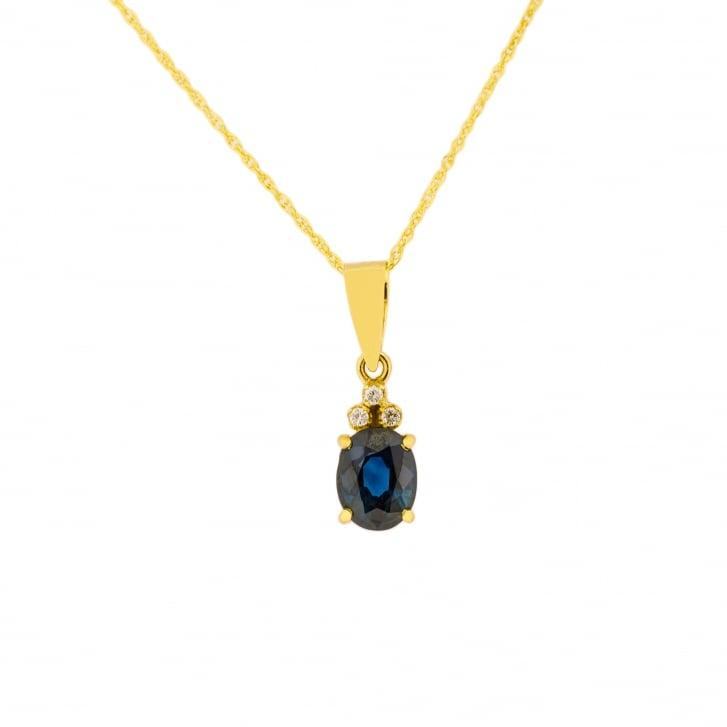 Timeless Deep Blue Sapphire Oval Cut with Diamonds Pendant