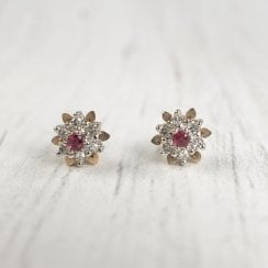 Tiny Ruby and Diamond Cluster Earrings