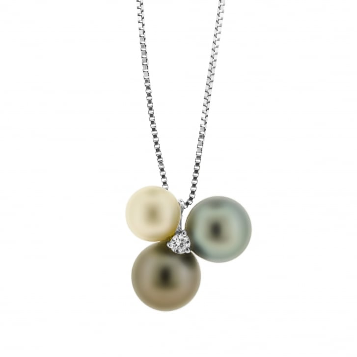 Damiani Trefoil Pearl and Diamond Pendant by Damiani