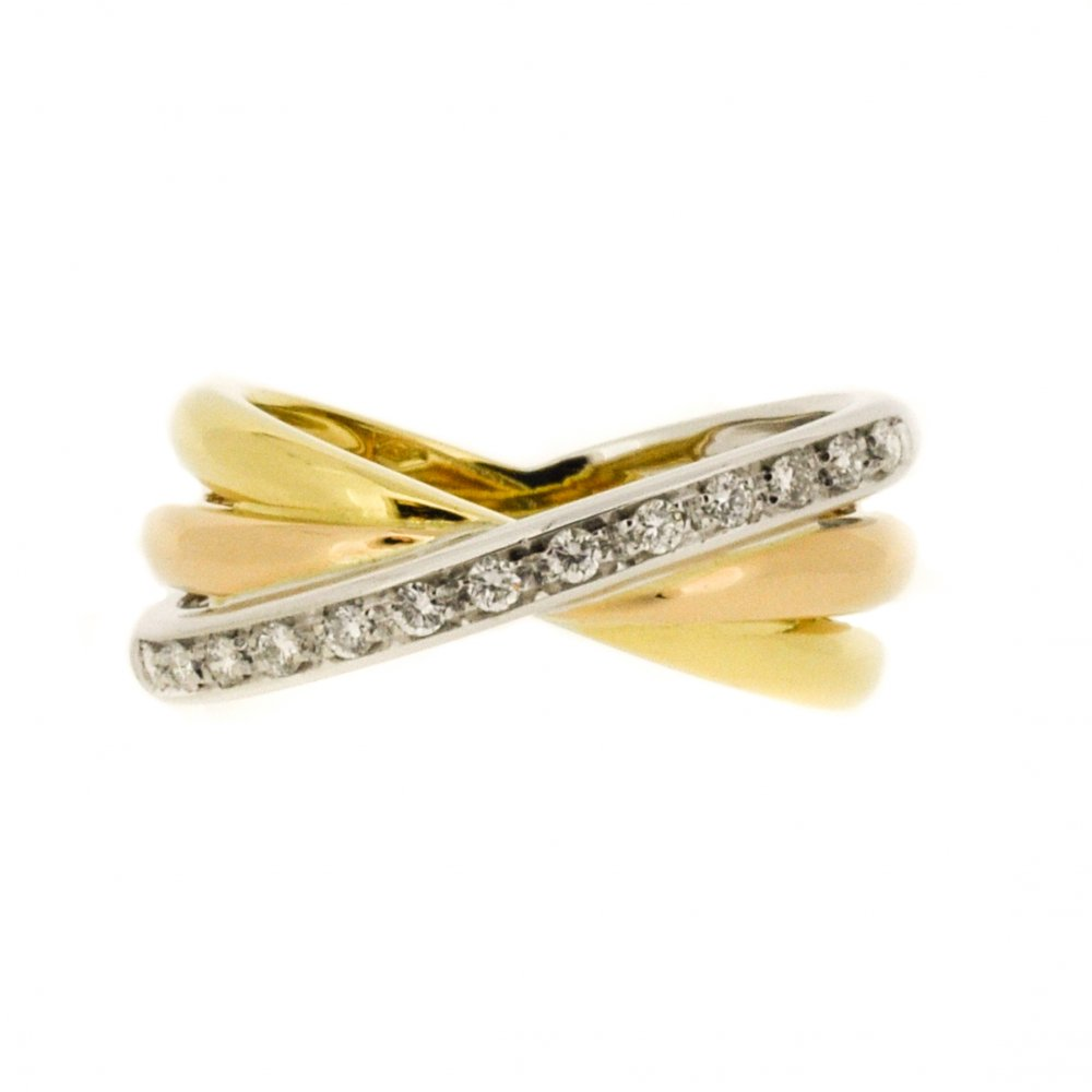 Triple Band Bands: Triple Band Diamond Crossover Ring
