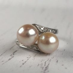 Two Pearl Crossover Ring