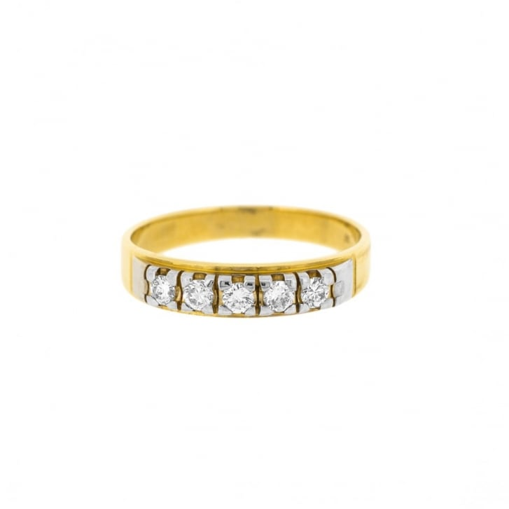 Two Tone Diamond Half Eternity Band