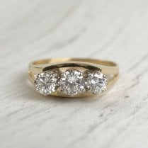 Unusual Diamond Three Stone Ring with Split Shoulders