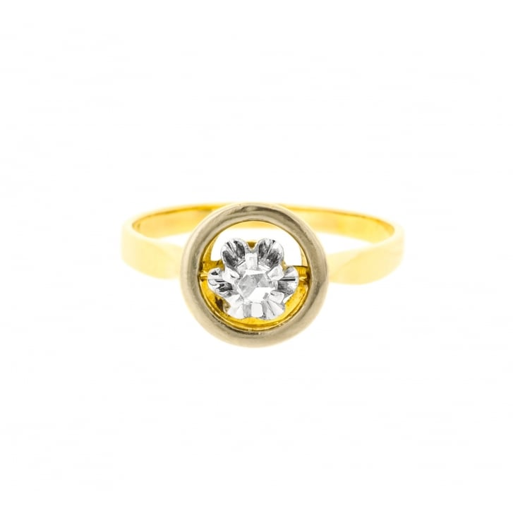 Unusual Halo Ring with Rose Cut Diamond in a Buttercup Setting