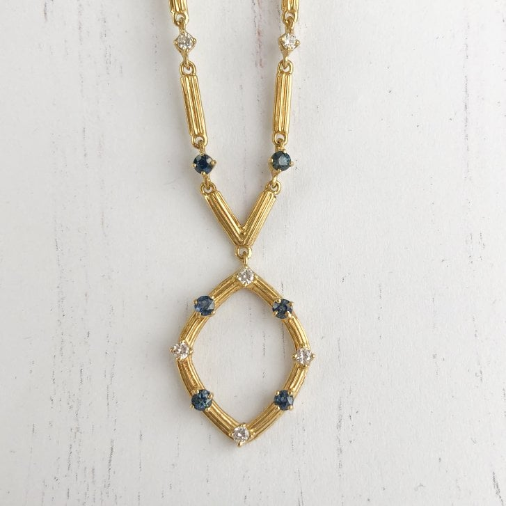 Unusual Textured Necklace with Sapphire & Diamonds