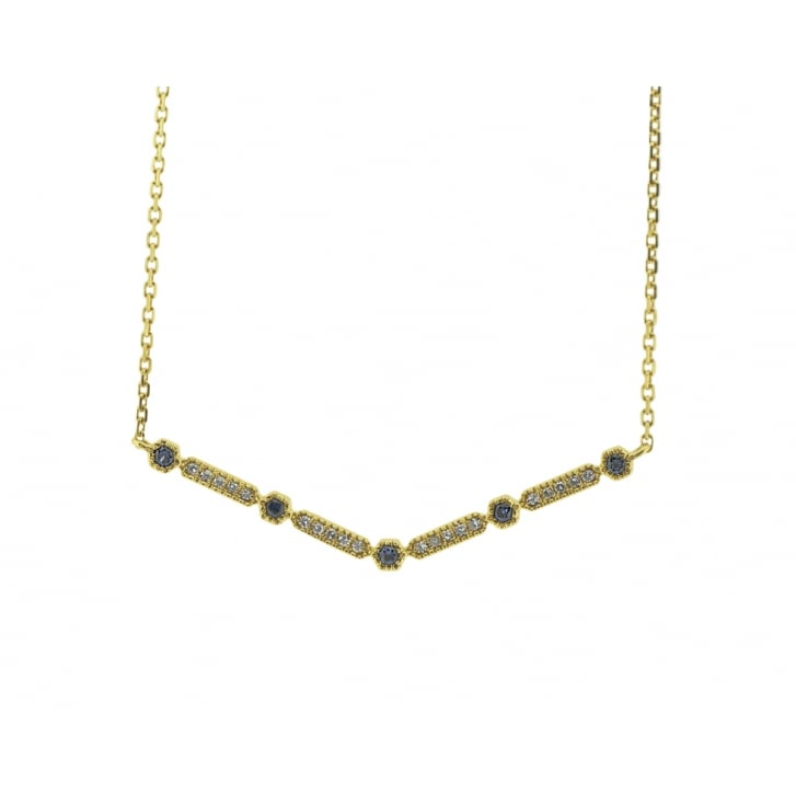 Richard Woo V-Bar Diamond and Sapphire Necklace