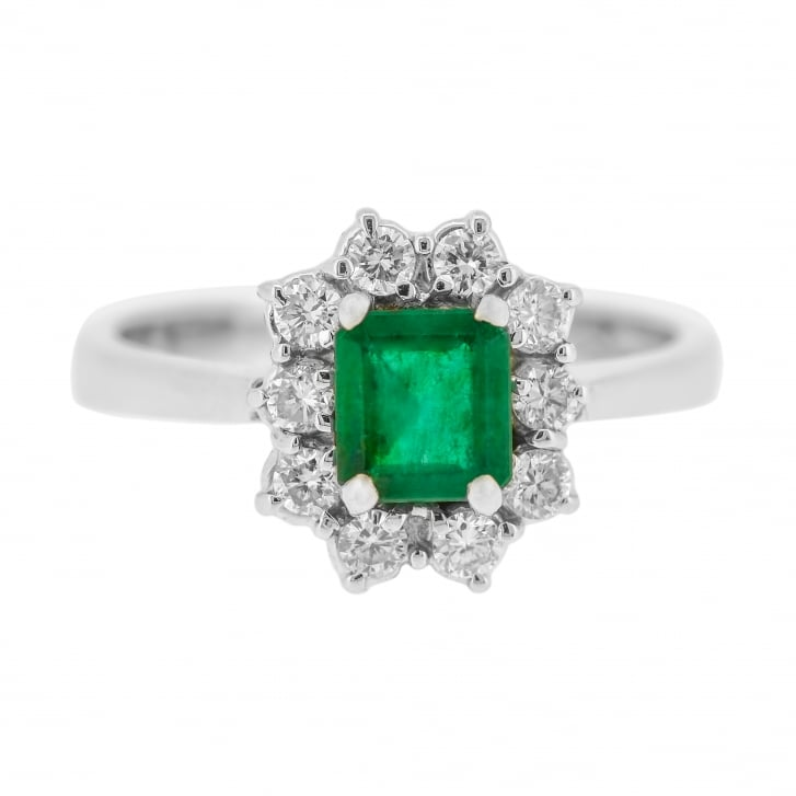 Vibrant Emerald with Diamond Halo solitaire Style Ring
