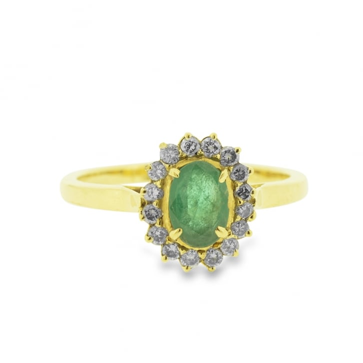 Vibrant Oval Emerald and Diamond Halo Ring
