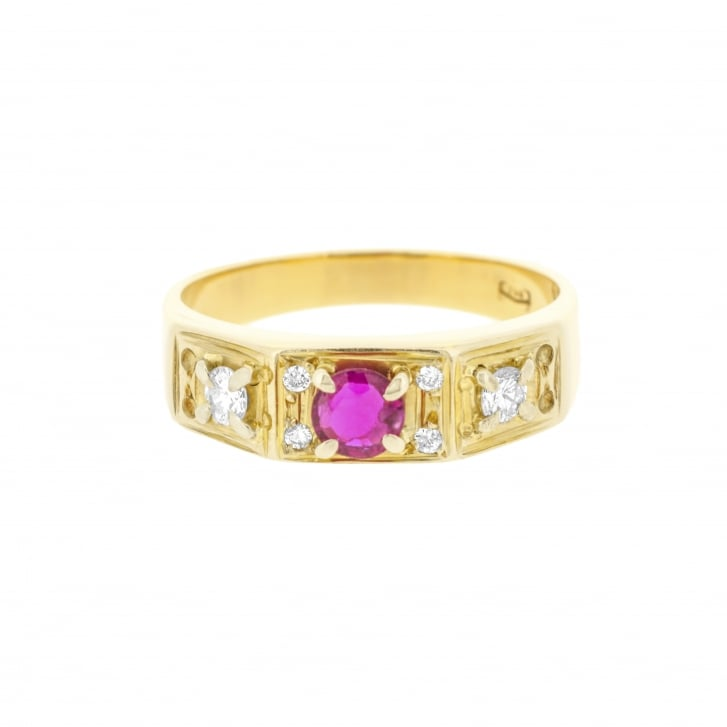 Vibrant Round Brilliant Cut Ruby and Diamond Ring