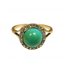 Vicotrian Turquoise and Rose Cut Diamond Halo Ring