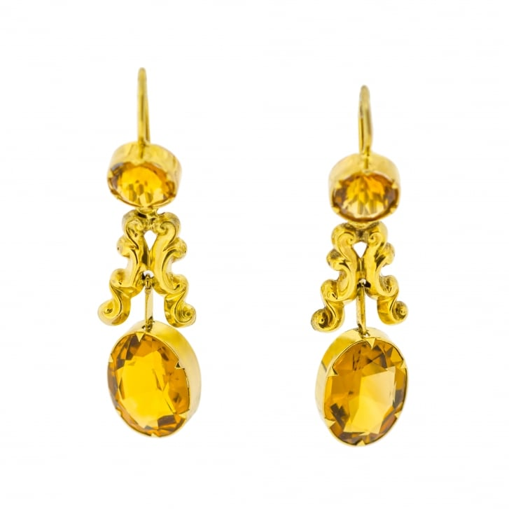Victorian Citrine Drop Earrings