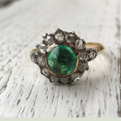 Victorian Emerald Cabochon and Old Cut Diamonds Cluster Ring