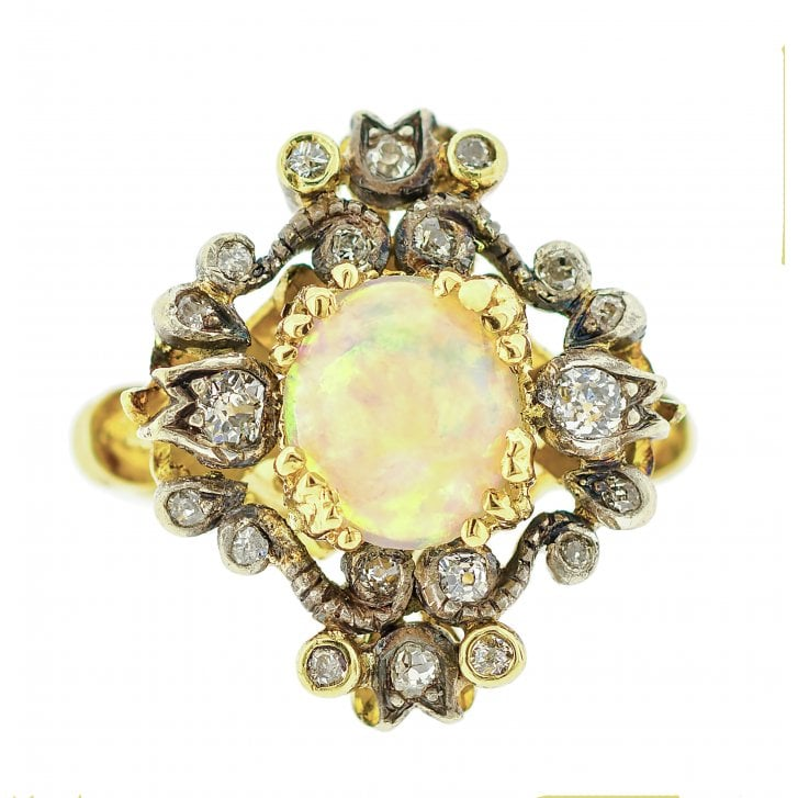 Victorian Opal and Diamond Floral Ring