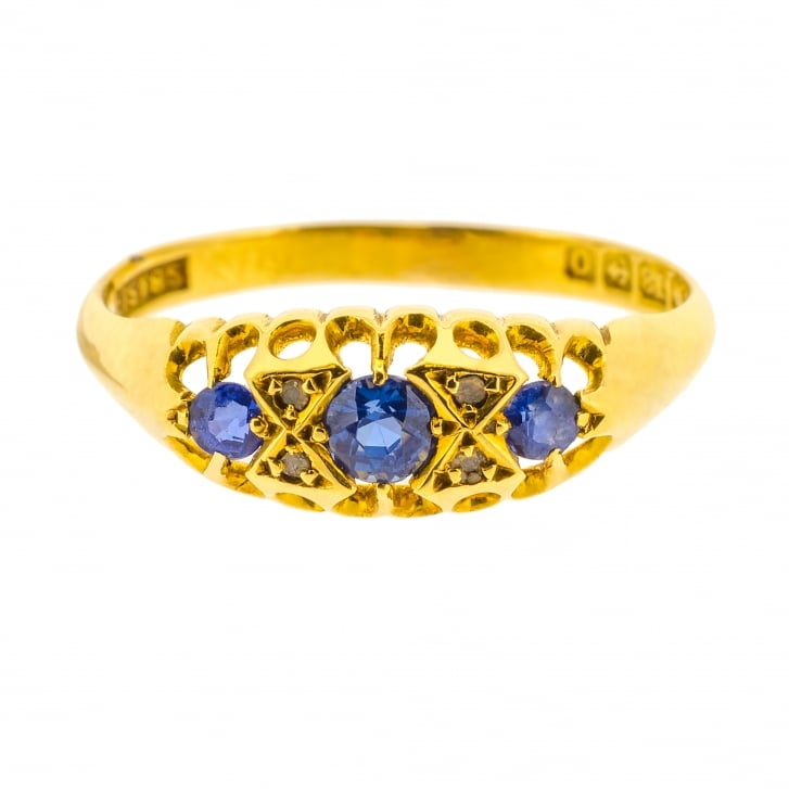 Victorian Sapphire Trilogy Ring