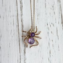 Victorian Spider Pendant with Amethyst and Millegrain