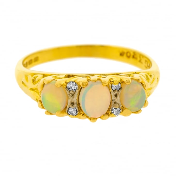 Victorian Trilogy Opal and Diamond Scrolling Ring
