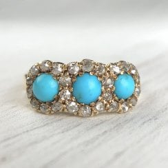 Victorian Turquoise and Old Mine Cut Diamonds Trilogy Ring