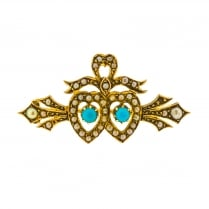 Victorian Turquoise and Seed Pearl Twin Heart Brooch