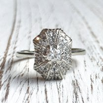 Vintage 1950s Diamond Panel Ring in White Gold