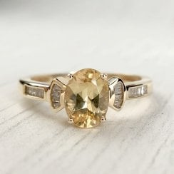 Vintage Citrine and Diamond Bow Ring
