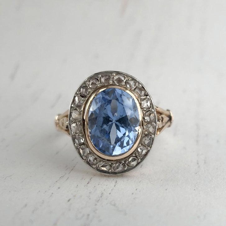 Vintage Cluster Ring w Blue Synthetic Spinel & Rose Cut Diamonds