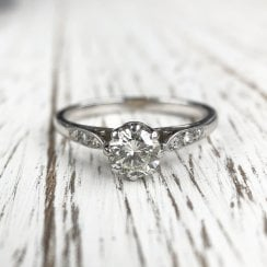 Vintage Diamond Engagement Ring with Diamond Shoulders