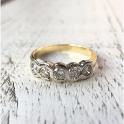 Vintage Diamond half eternity Ring in two Tone Gold