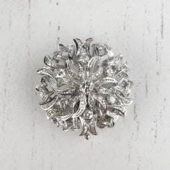 Vintage Diamond Open Work Floral Brooch in White Gold