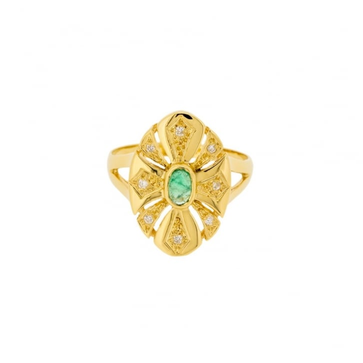 Vintage Emerald and Diamond Navette Ring