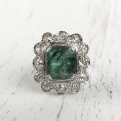 Vintage Emerald and Old Cut Diamonds Cluster Ring
