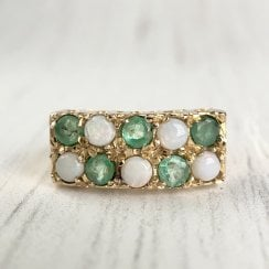 Vintage Emerald and Opal Signet Ring