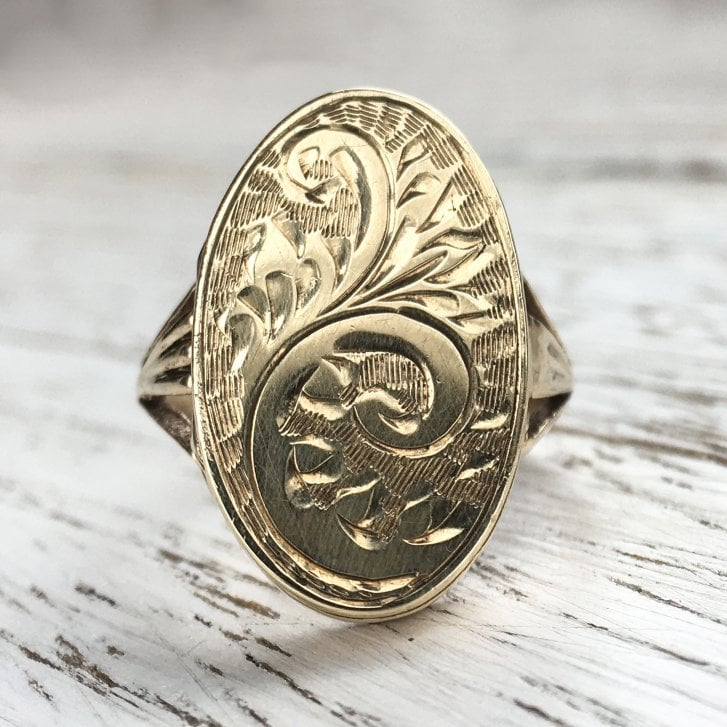 Vintage Engraved Locket Ring