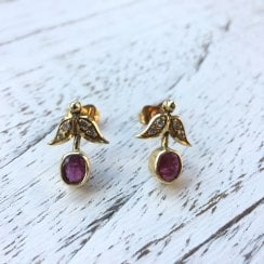 Vintage Floral earrings with Diamonds and Synthetic Rubies