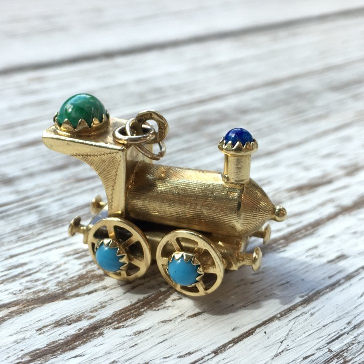 Vintage Gold Locomotive with Coloured Glass Accents