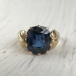 Vintage Gold Ring with Lab-Created Sapphire