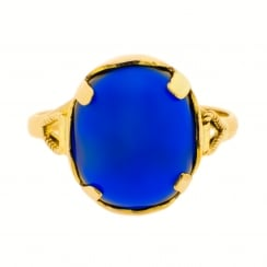 Vintage Gold Ring with Large Blue Cabochon Gem