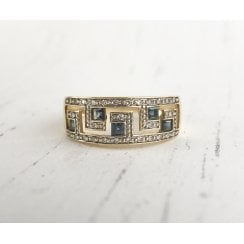 Vintage Greek Scroll Open Ring with Sapphires and Diamonds