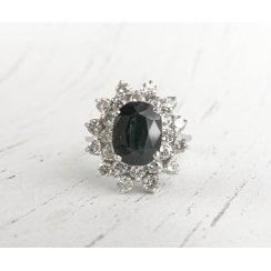 Vintage Large Oval Sapphire and Diamond Cluster Ring
