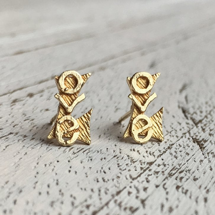 "Vintage ""Love"" Stud Earrings in Gold"