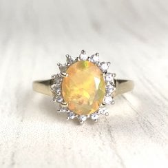 Vintage Opal and diamond halo ring in 9ct Gold