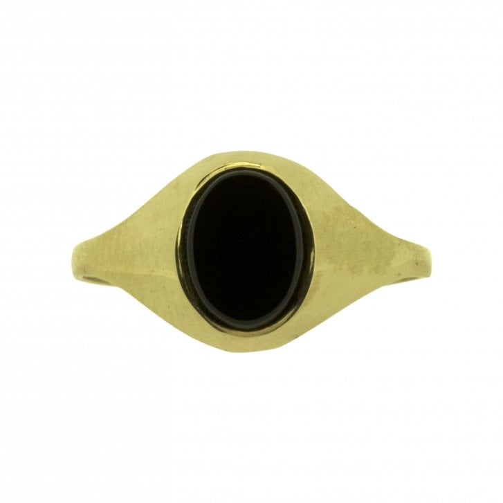 Vintage Oval Onyx Signet Ring in Yellow Gold