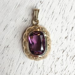 Vintage Pendant with Large Purple Paste