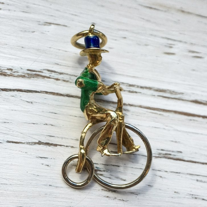 Vintage Penny Farthing Enameled Gold Charm