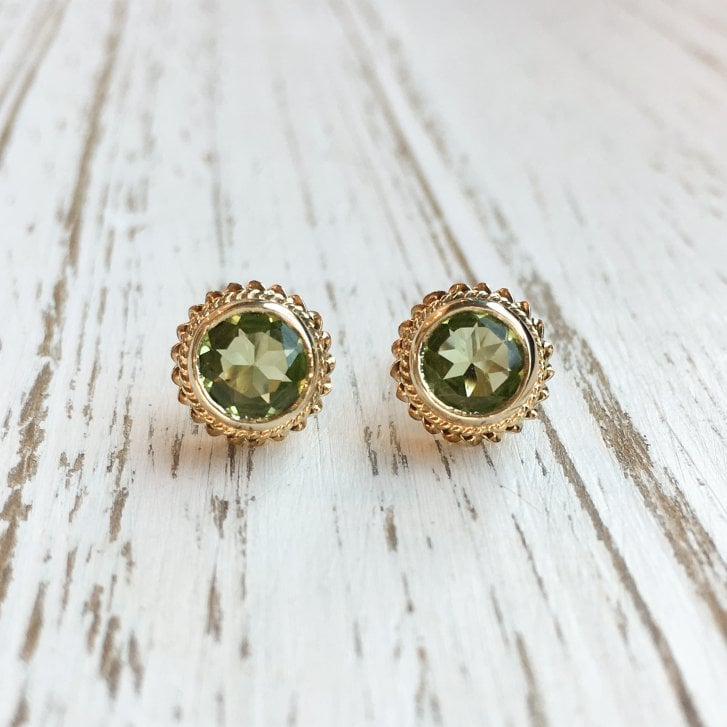 Vintage peridot Earrings with Rope Border